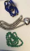 Vtg. Junk Drawer Lot 3 Necklaces Blue Beaded Silver-like Heart Green Necklac