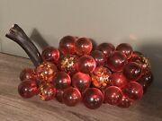 Rare Mid Century Lucite Acrylic Grapes Cluster Driftwood Orange Gold Flakes