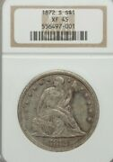 1872-s Seated Liberty Dollar Ngc Xf45 Silver Coin. Key Date