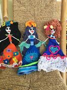 Adorable Skeleton Paper Mache Handmade Day Of The Dead Doll Set