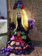 Beautiful Blonde Day Of The Dead Skeleton And Skulls Paper Mache Doll