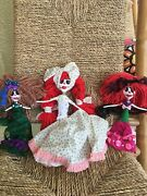 Adorable Paper Mache Skeleton Day Of The Dead Handmade Doll Set