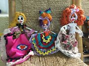 Adorable Skeleton Handmade Day Of The Dead Paper Mache Doll Set Minis