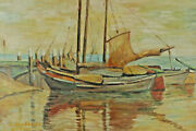 Signed I Heller - Sailing Boats Fishing Boats With Jetty