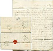 1849 Letter Edward West Ellisburg Ny To Wm.allison Louth ..liverpool Ship + Hull