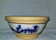 Yellow Ware East Knoll Pottery 6 Bowl Blue Feather/seaweed Stoneware