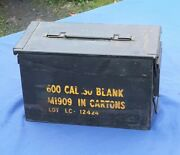 U.s. Military Metal Ammo Case Can 30cal Holder Box W/log Chains 2 Off Road