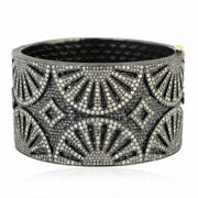 Natural Diamond And Black Spinel 925 Sterling Silver Victorian Bangle Jewelry