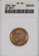 1830 George Iv Gold Sovereign Great Britain Anacs Xf 45 Old Holder Looks Au