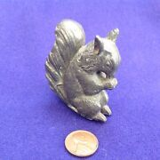 Rare Victorian Antique Figural Cast Metal Toy Squirrel Baby Rattle Miniature