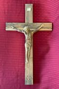 hand Carved Wooden Cross Crucifix Made In 1980's 23 1/2 X 13 3/4