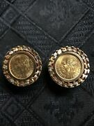 1945 Mexico Dos Y Medio Pesos Coin Earrings 14k Gold Woven Bezel Omega Back