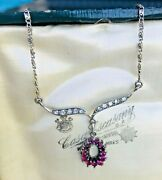 Fine And Exquisite Art Deco Ruby And Paste Crystals Silver Pendant Necklace