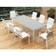 Harrier Luxury Outdoor Dining Table And Chairs | 3 Sizes - 4/8 Seats | White/grey