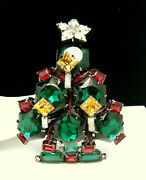 Lawrence Vrba Huge Rhinestone Christmas Tree Brooch Red Green With Candles Star