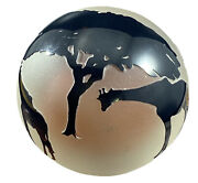 Correia Amber And Black Glass Giraffes Paperweight Signed Numbered Artist Frosted