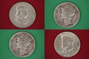 Make Offer 15.00 Face Value 1964 Kennedy Franklin Mercury Junk 90 Silver Coins