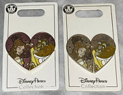 Disney Belle Pins Beauty And The Beast Two Piece Heart Pin Rare Color Variation
