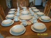 Four Crown China Vintage Claridge Pattern 317 Blue Floral 60 Piece Grouping