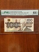 Offering A Very Nice 1988 100 Bank Of Canada Graded Choice Uncirculated 64 Epq