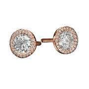 Round Cut 2.20 Ct H/si1 Natural Diamond Stud Earrings 14k Rose Gold