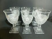 Westmoreland English Hobnail Square Base Clear Water Glasses Goblets 6 1/4and039and039 6