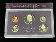 1987-s Us Mint 5-coin Proof Set In Original Box And Case—uncirculated J