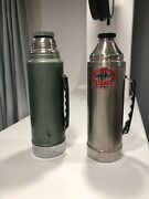 2 Vintage Metal Thermoses Aladdin/stanley And Uno-vac