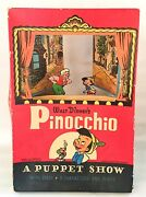 Vintage 1939 Disney Pinocchio Puppet Show Stage And 8 Characters Rare Free Ship