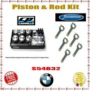 Cp Piston 86.00mm 3.386 Bore 8.51 Cr And Supertech Rod Kit For Bmw S54b32 3.2l