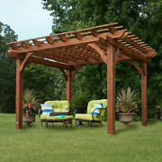 Wooden Sculptured Pavillon Outdoor Patio Gazebo Cedar Pergola 12x10x8 Ft Tall