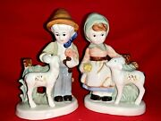 Vintage Lladro Boy Girl With Sheep Lambs In Country Farm Figurines Set ❤️sj11h5s