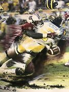 Jadeveon Clowney Autographed Le Canvas Painting Usc Gamecocks V Michigan Steiner