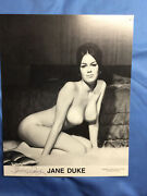 Bunny Yeager Signed Vintage Pinup Photo Of Busty Nude Model Jane Duke Ships Free