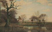 Signed Anton Handaumlrtl - Autumn Hilly Landscape With Sheep And Waters