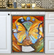 Kitchen Dishwasher Magnet - Beautiful Butterfly On Abstract Background 2