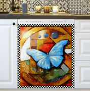 Kitchen Dishwasher Magnet - Beautiful Butterfly On Abstract Background 3