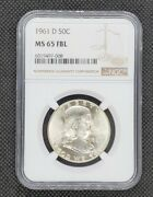 1961-d Franklin Half Dollar   Ngc Ms65fbl   Nice, White Coin Better Date