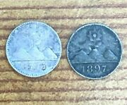 1895 And 1897 Guatemala 1/4 Real Silver Coins