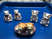Kitty Cat Cats Salt And Pepper Shaker Collection Lot Of 3 White And Tan Ceramic