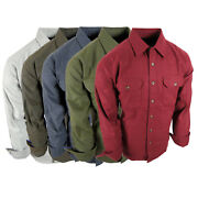 Chamois Shirt Mens Flannel Thick Rugged Work Stretch Button Pocket True Fit