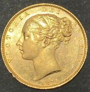 Great Britain 1871 Young Head Queen Victoria Gold Sovereign Shield Rev. Die 29