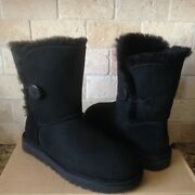 Ugg Classic Short Bailey Button Ii Water-resistant Black Boots Size Us 7 Womens