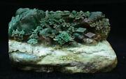 10.8china Natural Dushan Green Jade Carved Tree 2 Old Man Mountain Water Statue
