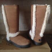 Ugg Sunburst Tall Chestnut Water-resistant Suede Fur Boots Size Us 7 Womens