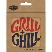 Open Road Brands 90183719 Chip Board Grill + Chill Theme Coasters Pack Of 4