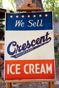 """Rare Large Vintage Metal Crescent Ice Cream Sign Red White And Blue 20"""" By 27¾"""""""