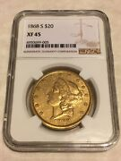 1868-s 20 Ngc Xf45 Liberty Double Eagle Gold Coin Very Good Appeal No Pcgs