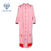 Clergy Robe- Men's Full Length Robe With Stole Set In Red And Pink- Custom Made