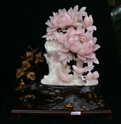 17.6 China Natural Xiu Pink Jade Carving Subshrubby Peony Flower Birds Statue
